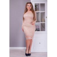 Вечернее гипюровое облегающее платье большого размера