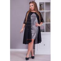 Стильное вечернее платье с накидкой большого размера