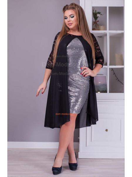 Стильна вечірня сукня із накидкою великого розміру