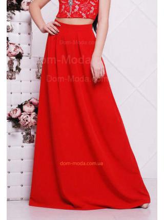 Женская однотонная длинная юбка красная, бежевая, серая