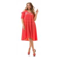 Нарядне жіноче плаття великого розміру із невеликим рукавом