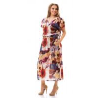 Летнее женское льняное платье с рукавом большого размера