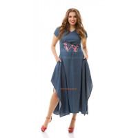 Джинсовое модное платье большого размера с карманами