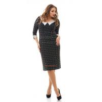 Стильное короткое платье большого размера в горошек
