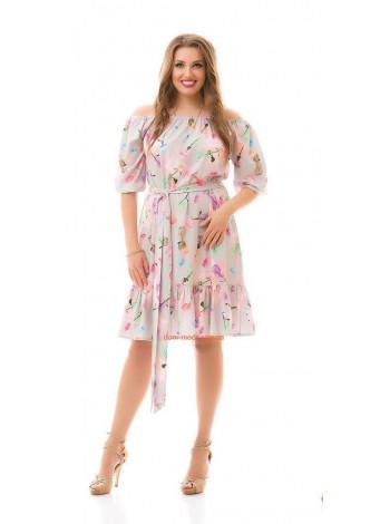Жіноче літнє плаття із відкритими плечима і рукавом великого розміру