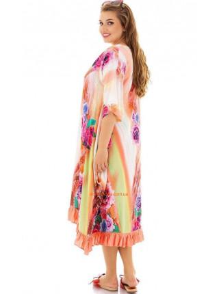 Свободное разноцветное платье для пышных девушек
