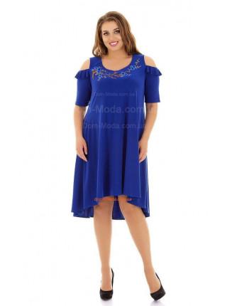 Нарядное платье зеленого и синего цвета для полных
