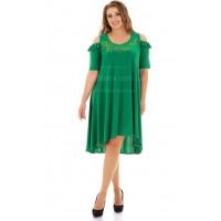 Ошатне плаття зеленого і синього кольору для повних