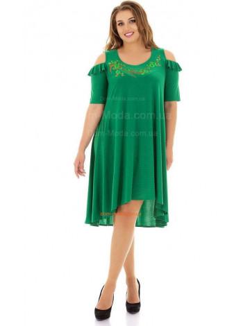 Нарядне плаття зеленого і синього кольору для повних