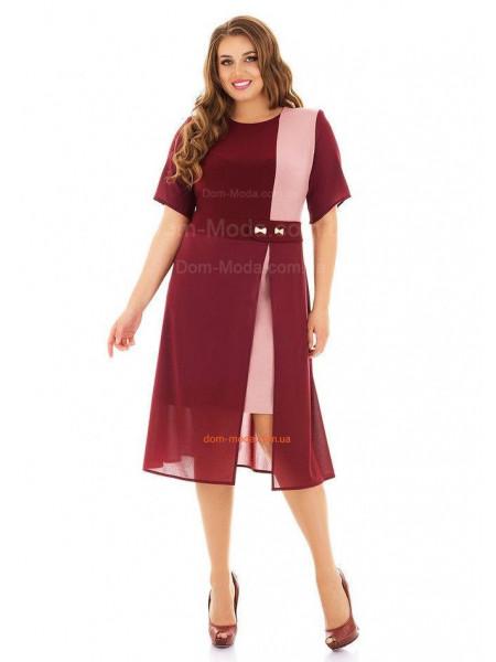 Короткое платье для полных бордового цвета
