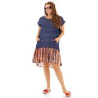 Короткое джинсовое платье с рукавом большого размера