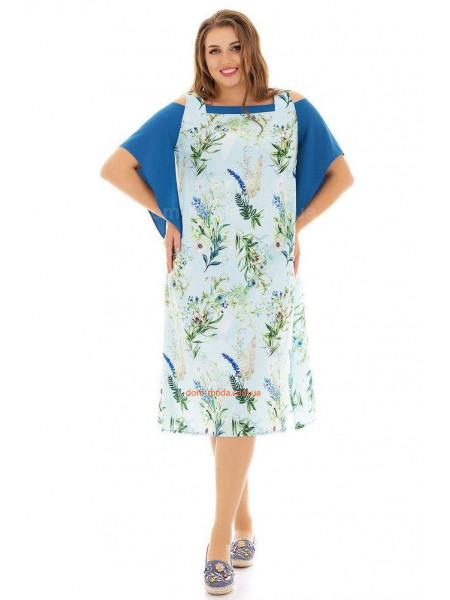 Платье летнее с оригинальными рукавами для полных