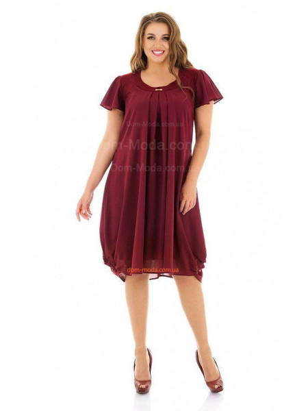 Женское  нарядное платье бордового цвета большого размера