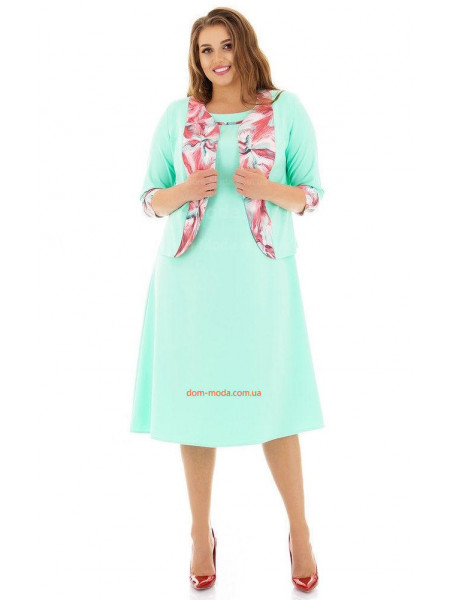 Костюм літній піджак із платтям для повних жінок