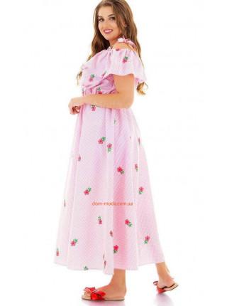 Літній сарафан в принт ніжно рожевого кольору