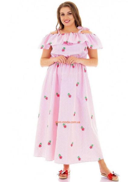 Летний сарафан в принт нежно розового цвета