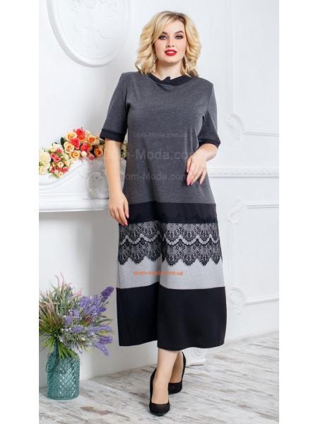 Жіноча довга сукня великого розміру із рукавом