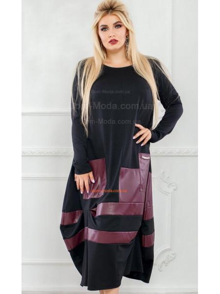 Оригінальне максі плаття зі вставками шкіри