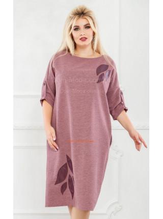 Стильне плаття із шкіряною аплікацією для повних жінок