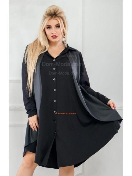 Стильне плаття рубашка із шкірою для дівчат з формами