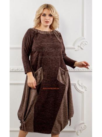 Тепле плаття для повних дівчат коричневого кольору