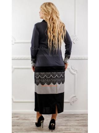 Стильное прямое платье с черным кружевом большого размера