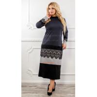 Стильне пряме плаття із чорним мереживом великого розміру