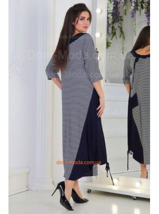 Женское платье в полоску over size для полных