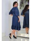 Стильное джинсовое платье с оборкой большого размера