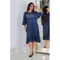 Стильне джинсове плаття із воланом великого розміру