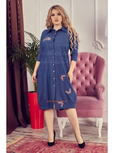 Женское джинсовое платье рубашка большого размера