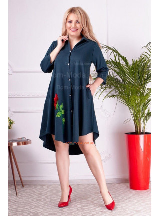 Женское платье рубашка свободного кроя для полных