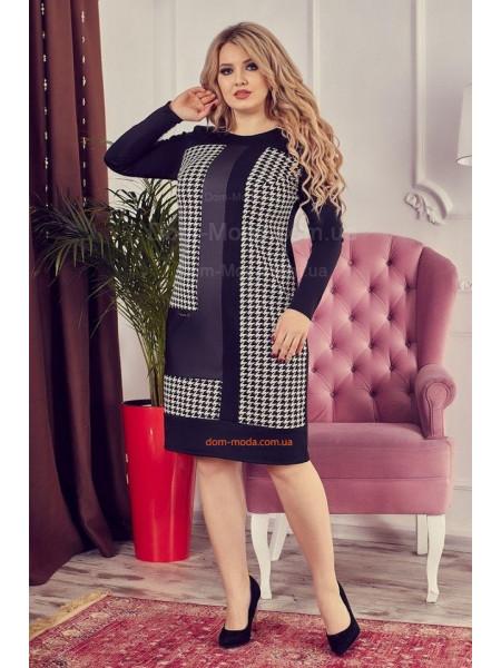 Женское платье большого размера в гусиную лапку