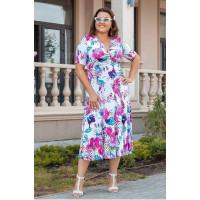Красиве літнє плаття міді із декольте великого розміру