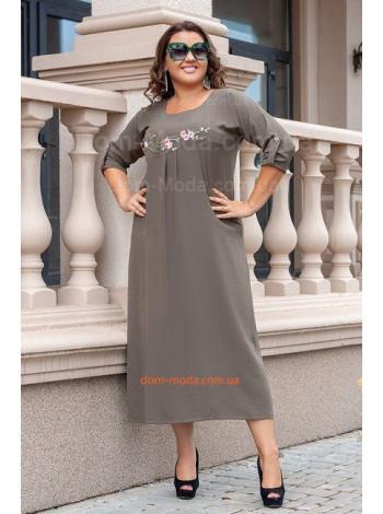 Летнее льняное платье миди большого размера