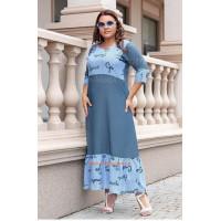 Длинное джинсовое платье большого размера