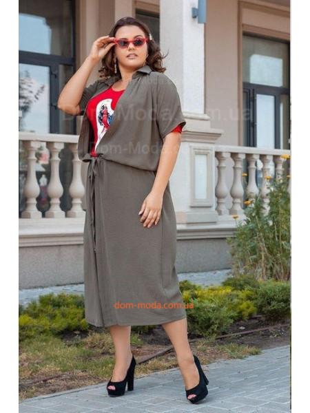 Женский костюм платье с кардиганом для полных