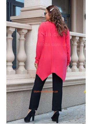 Стильный брючный костюм с удлиненной блузкой большого размера