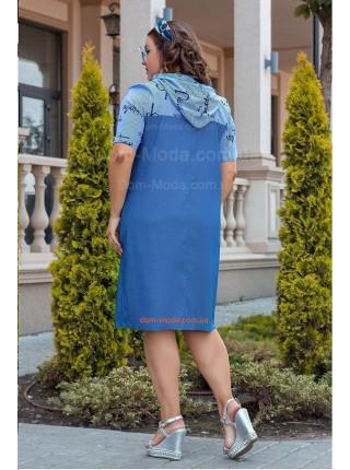 Летнее джинсовое платье с капюшоном