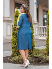 Стильное джинсовое платье с нашивкой большого размера