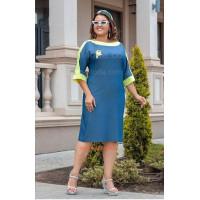 Стильне джинсове плаття із нашивкою великого розміру