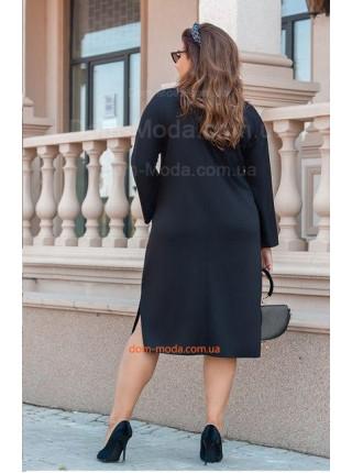 Стильное черное платье со вставками кожи для полных
