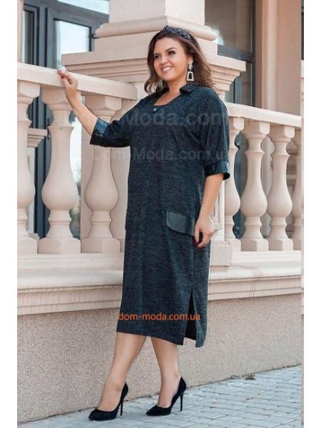 Стильное платье с рукавом из ангоры для полных