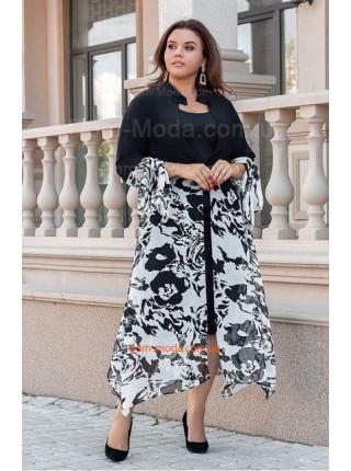 Модный женский сарафан с накидкой для полных