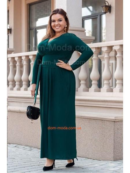 Вечернее трикотажное платье макси для полных девушек