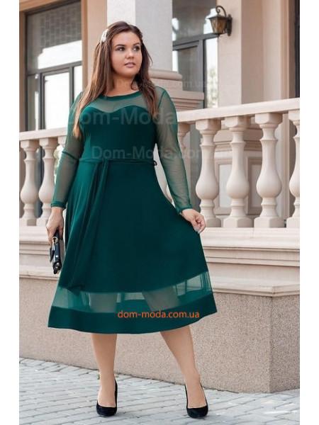 Женское вечернее платье со вставками сетки для полных