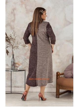 Модное теплое платье с рукавом для полных девушек