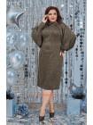 Стильное теплое платье с объемными рукавами большого размера