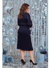 Стильне жіноче плаття в принт із поясом для повних дівчат