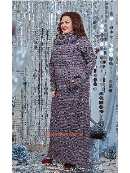 Стильное макси платье в принт с хомутом большого размера